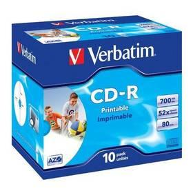 Disk Verbatim CD-R 700MB/80min. 52x, printable, jewel box, 10ks (43325)