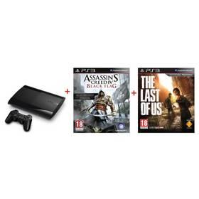 Herní konzole Sony PlayStation 3 500GB + hra Assassin's Creed Black Flag (PS719217480) černá