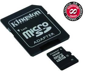 Paměťová karta Kingston MicroSDHC 16GB Class 4 + adapter (SDC4/16GB)