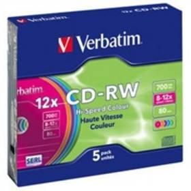 Záznamové médium Verbatim CD-RW(5-Pack)Slim/Colours/Hi Speed/8x-12x/700MB (43167)
